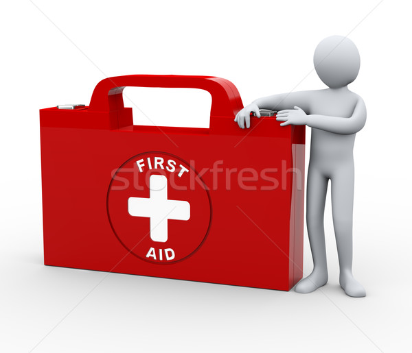 3d man with first aid medical kit Stock photo © ribah
