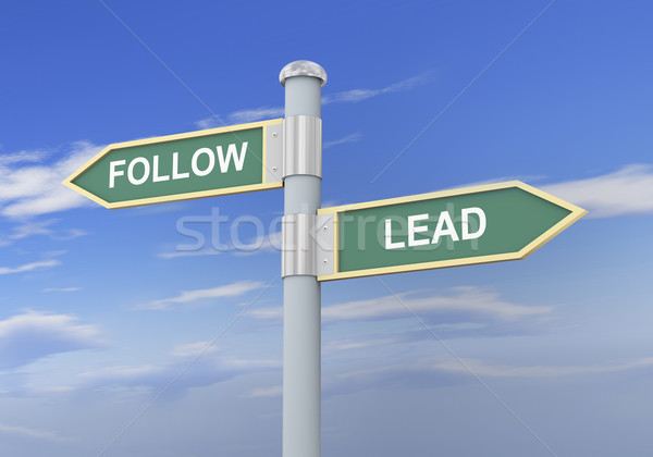 Stock photo: 3d follow lead road sign