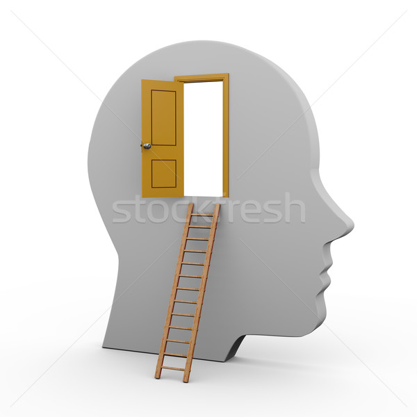 Hoofd Open deur 3d illustration menselijke ladder Stockfoto © ribah