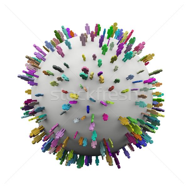 3D színes különböző emberek áll gömb Stock fotó © ribah