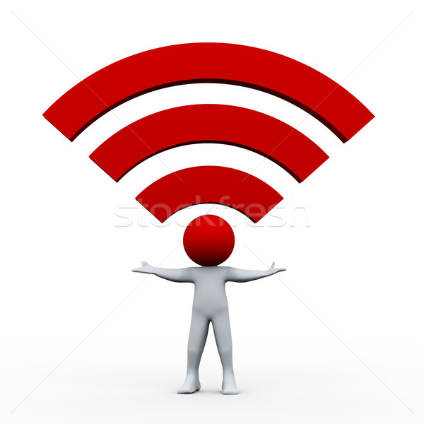 Stock photo: 3d man and wifi icon