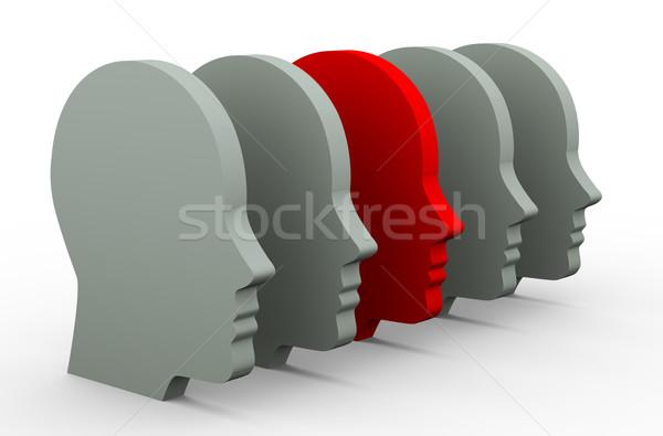 Stock photo: 3d unique human head