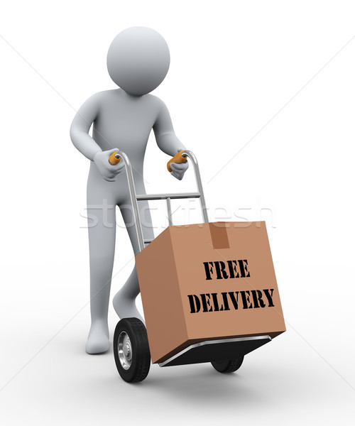 3d man hand truck free delivery Stock photo © ribah