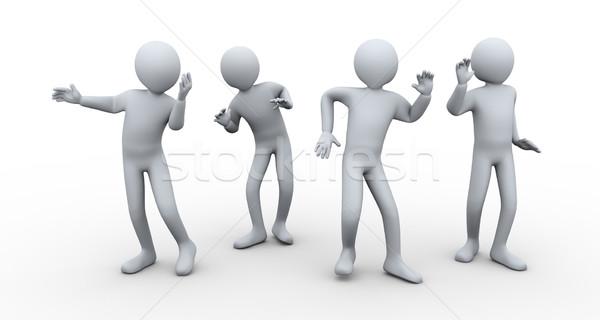 Сток-фото: 3d · люди · танцы · 3d · иллюстрации · мужчин · вечеринка · 3D