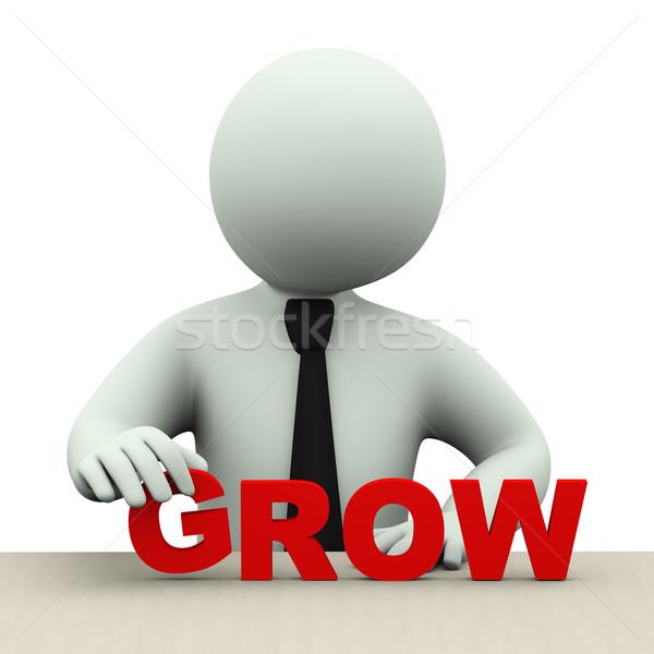 3d business man with word grow Stock photo © ribah