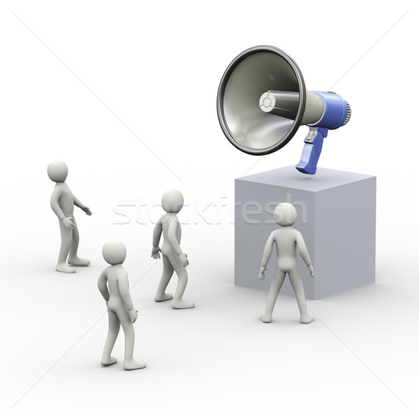 3d people and one big megaphone on top Stock photo © ribah