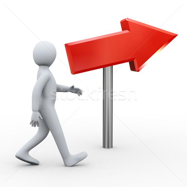 3D caminando persona rojo flecha 3d Foto stock © ribah