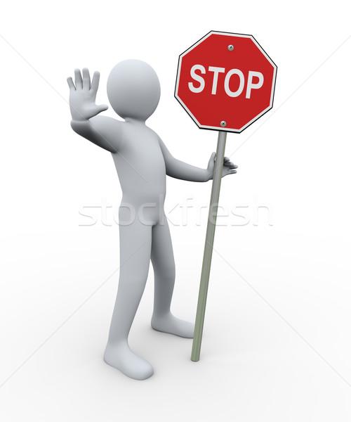 3d man stoppen symbool 3d illustration persoon Stockfoto © ribah