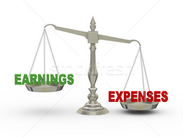 3d earnings and expenses on scale Stock photo © ribah