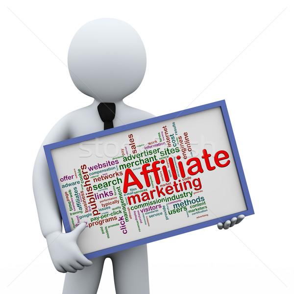 3d businessman holding affiliate wordcloud Stock photo © ribah