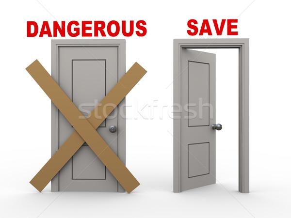 3D veszélyes mentés ajtók 3d illusztráció zárva Stock fotó © ribah
