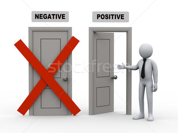 3d kişi negatif pozitif kapılar 3d illustration teklif Stok fotoğraf © ribah