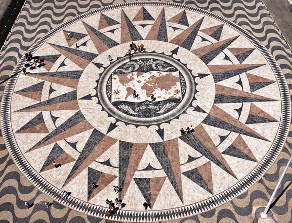 Mozaiek wereldkaart kaart tonen top Lissabon Stockfoto © ribeiroantonio