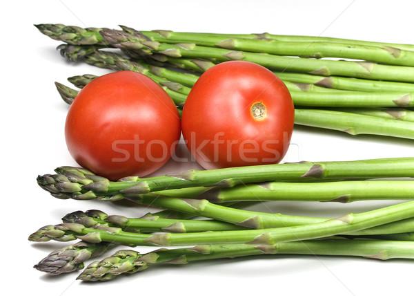 Asperges tomaten vers geïsoleerd witte voedsel Stockfoto © ribeiroantonio