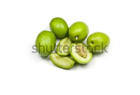 Stock fotó: Friss · zöld · olajbogyók · kész · étel · gyümölcs