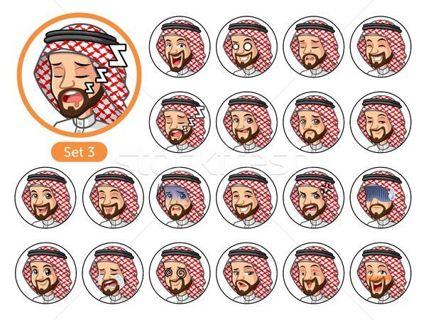 Harmadik szett szaúdi arab férfi rajzfilmfigura Stock fotó © ridjam