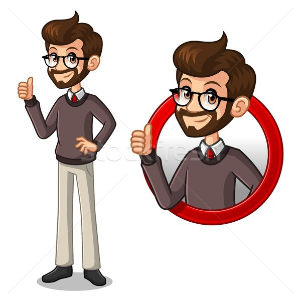 Set of hipster businessman inside the circle logo concept Stock photo © ridjam