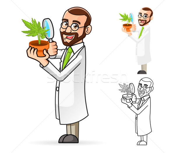 Plant Scientist Cartoon Character Looking at a Plant Through a Magnifying Glass Stock photo © ridjam