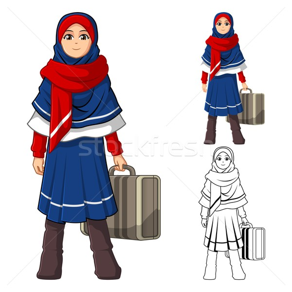 Müslüman kız moda mavi kırmızı Stok fotoğraf © ridjam