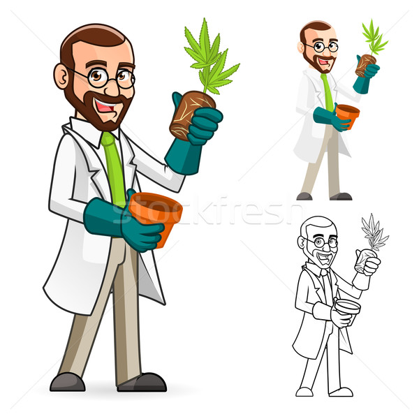 Plant Scientist Cartoon Character Inspecting The Roots of a Plant Stock photo © ridjam