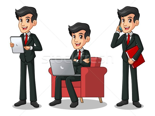 Set of businessman in black suit working on gadgets Stock photo © ridjam
