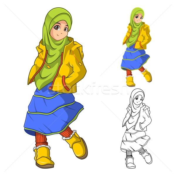 ストックフォト: ムスリム · 少女 · ファッション · 着用 · 緑 · ベール