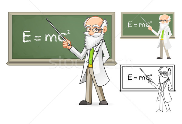 Scientist Cartoon Character Holding a Pointer Stick Stock photo © ridjam