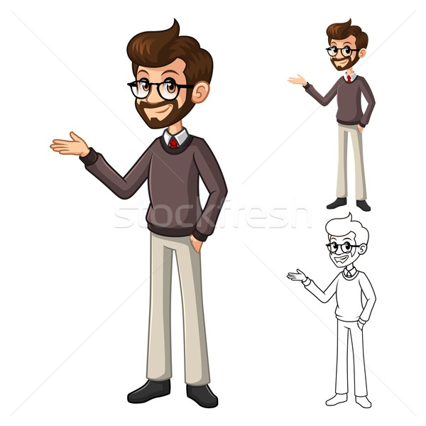 Businessman Hipster Geek with Welcoming Arms Cartoon Character Stock photo © ridjam
