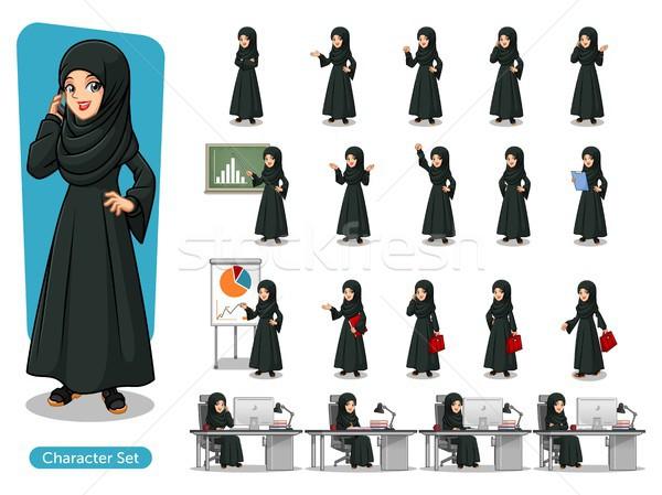 Zestaw Emiraty kobieta interesu czarna sukienka projektu Zdjęcia stock © ridjam