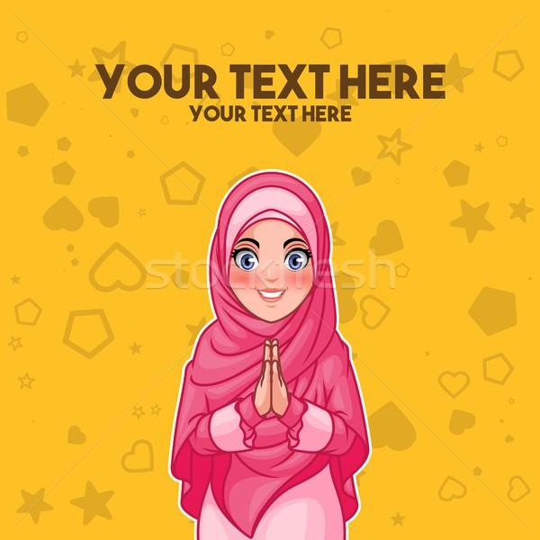 Muslim woman greeting with welcoming hands Stock photo © ridjam