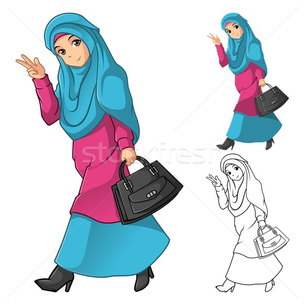 Muszlim lány divat visel zöld fátyol Stock fotó © ridjam