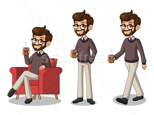 Set of hipster businessman making a break with drinking a coffee  Stock photo © ridjam