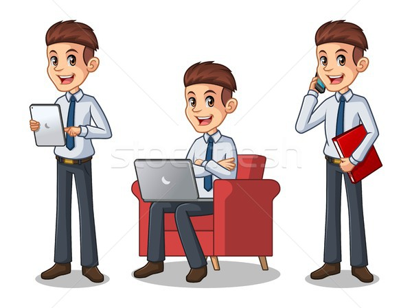 Set of businessman in shirt working on gadgets Stock photo © ridjam