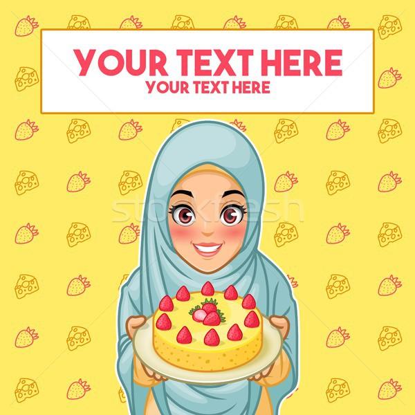 Muçulmano mulher prato sobremesa jovem Foto stock © ridjam