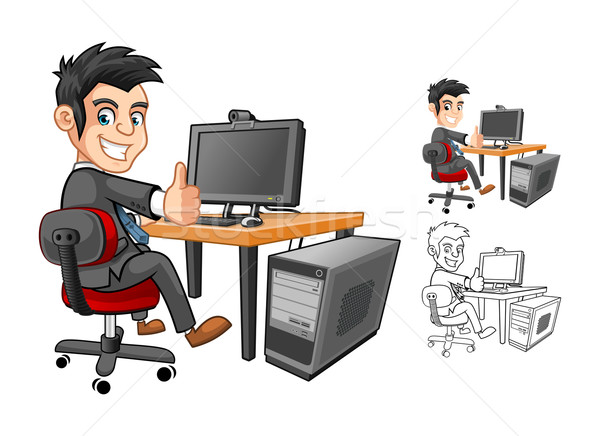 Officer or Employee or Business Man Sitting at The Table Cartoon Character Stock photo © ridjam