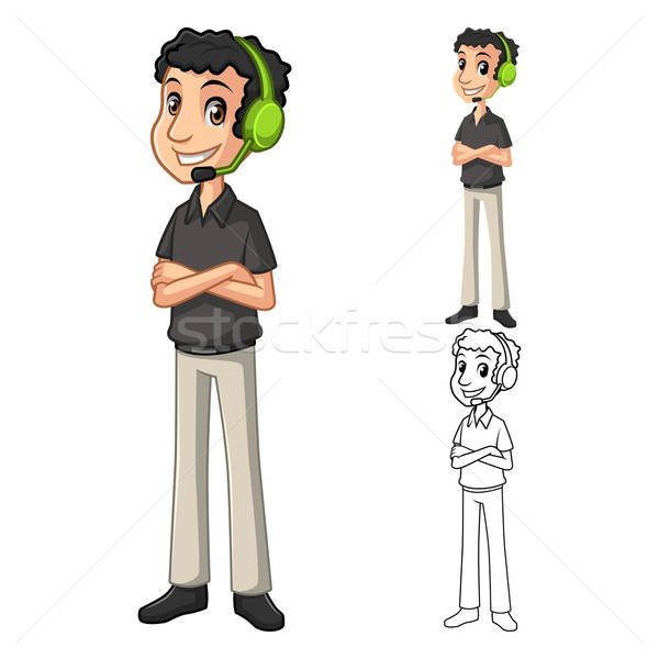 Contact Support Man with Head Phone Cartoon Character Stock photo © ridjam