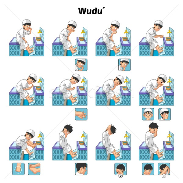 Stock photo: Muslim Ablution or Purification Ritual Guide