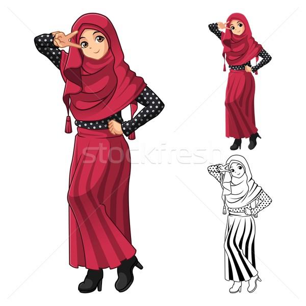 Moslim meisje mode Rood sluier Stockfoto © ridjam