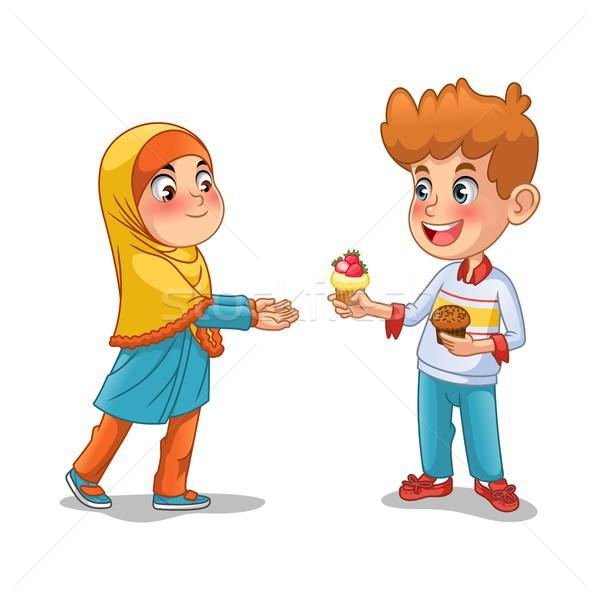 Stock fotó: Fiú · ad · minitorta · muszlim · lány · rajzfilmfigura