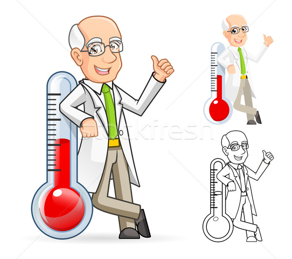 Scientist Cartoon Character Leaning Against a Temperature Stock photo © ridjam