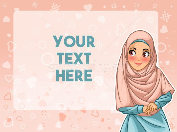 Stock photo: Muslim woman face looking an advertising vector illustration