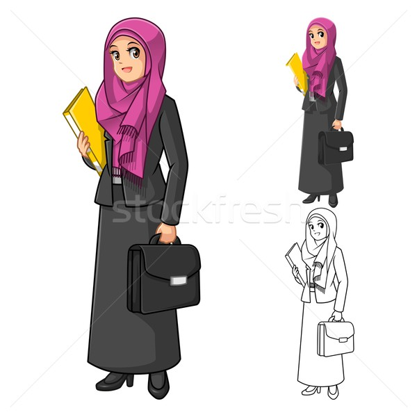 Muslim Businesswoman Wearing Fuchsia Veil with Holding Briefcase  Stock photo © ridjam