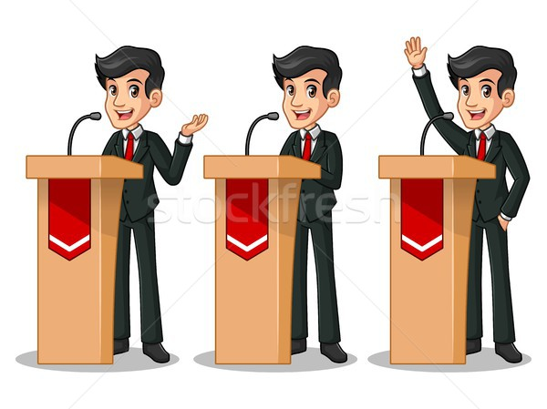 Set of businessman in black suit giving a speech behind rostrum Stock photo © ridjam