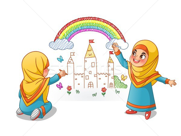 Muslim ragazze disegnare palazzo Rainbow muro Foto d'archivio © ridjam