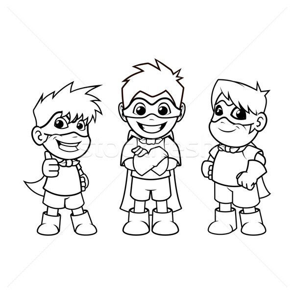 Kid Super Heroes Cartoon Character Outline Version Stock photo © ridjam