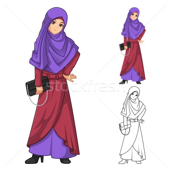 Muslim Woman Fashion Wearing Purple Veil or Scarf  Stock photo © ridjam