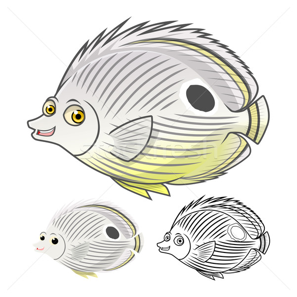 Four Eye Butterfly Fish Cartoon Character Stock photo © ridjam