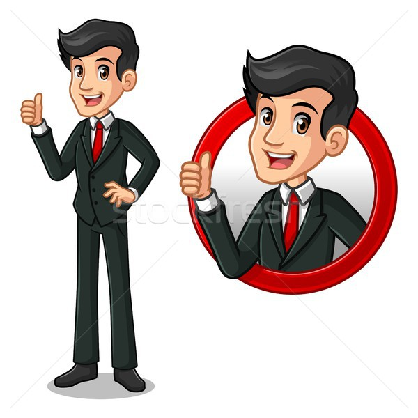 Set of businessman in black suit inside the circle logo concept Stock photo © ridjam