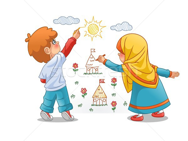 Muslim Girls and Boy Draw Landscapes On The Walls Stock photo © ridjam