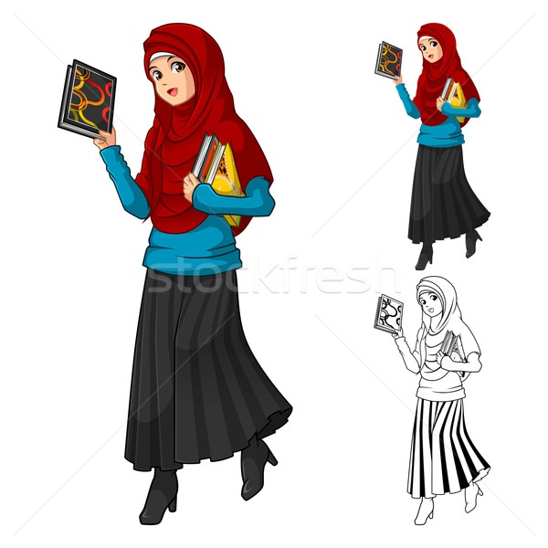 Muslim Woman Fashion Wearing Red Veil or Scarf Stock photo © ridjam